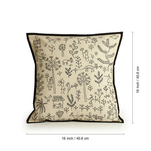 'Glimpse of Nature' Handstitched Cushion Cover In Cotton