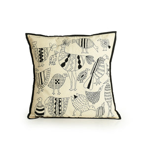 'Stitch On The Canvas' Handstitched Cushion Cover In Cotton