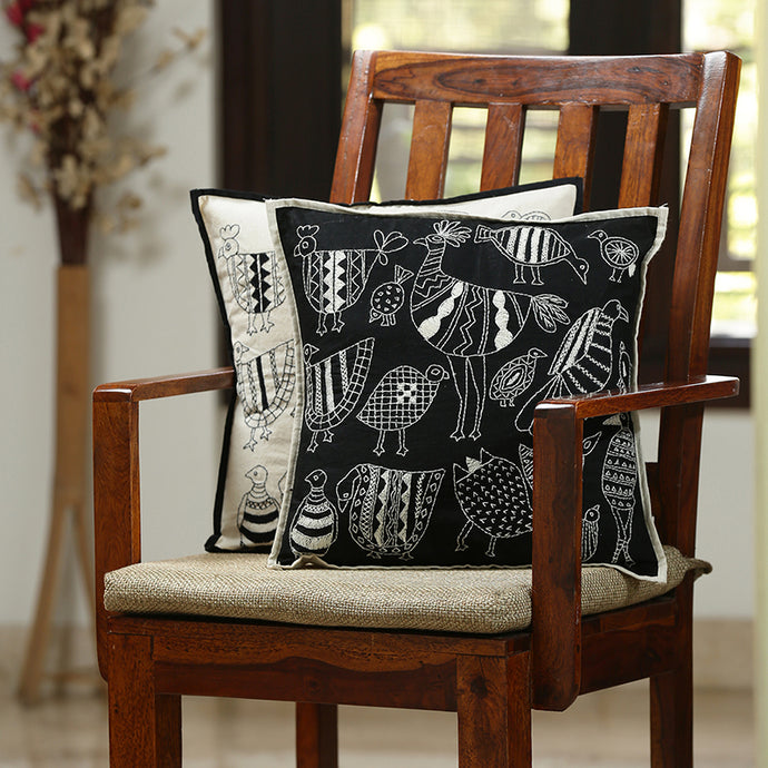 'The Contrasting Stitches' Handstitched Cushion Cover In Cotton (Set Of 2)