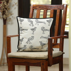 'The Dancing Birds' Handstitched Cushion Cover In Cotton