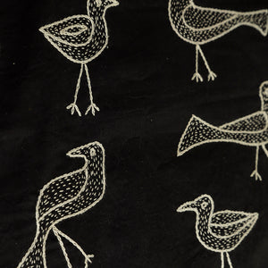 'Duet Of Birds' Handstitched Cushion Cover In Cotton (Set Of 2)