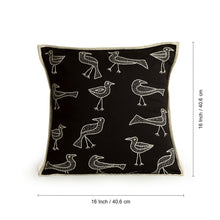 Load image into Gallery viewer, 'Duet Of Birds' Handstitched Cushion Cover In Cotton (Set Of 2)