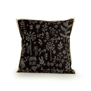 'Glimpse of Village' Handstitched Cushion Cover In Cotton