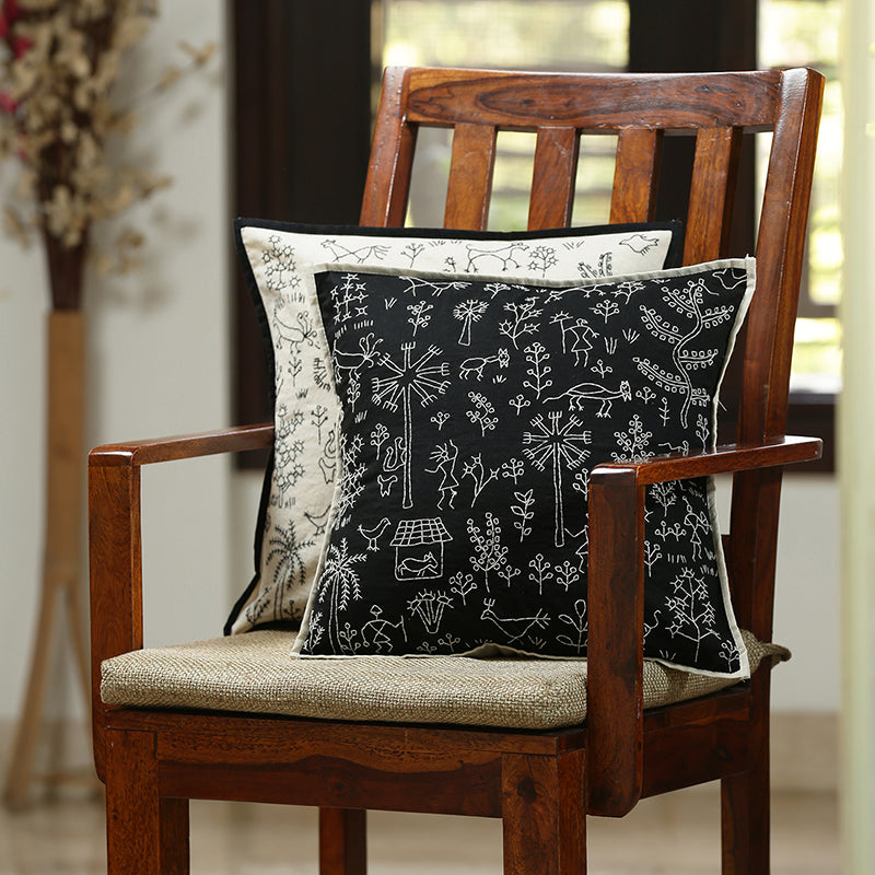 'The Contrasting Villages' Handstitched Cushion Cover In Cotton (Set Of 2)