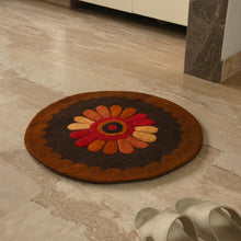 "Load image into Gallery viewer, ""Floral View"" Hand Felted Circular Door Mat In Sheep Wool (23 Inch)"