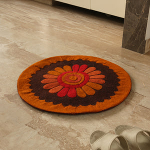 """Floral View"" Hand Felted Circular Door Mat In Sheep Wool (24 Inch)"