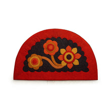 "Load image into Gallery viewer, ""Pristine Flower"" Hand Felted Semi Circular Door Mat In Sheep Wool (23 Inch)"
