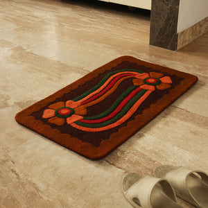 """Floral Link"" Hand Felted Rectangular Door Mat In Sheep Wool (29 Inch)"