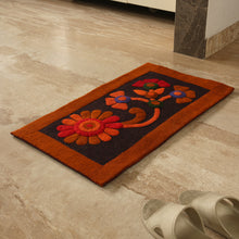"Load image into Gallery viewer, ""Floral Inception"" Hand Felted Rectangular Door Mat In Sheep Wool (30 inch)"