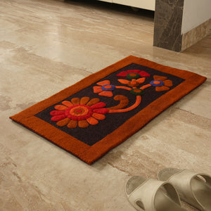 """Floral Inception"" Hand Felted Rectangular Door Mat In Sheep Wool (30 inch)"
