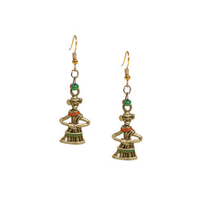 "Load image into Gallery viewer, ""Tribal Dancing Pair"" Bohemian Brass Earrings Handcrafted In Dhokra Art"