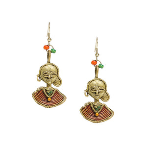 """Tribal Beauties"" Bohemain Brass Earrings Handcrafted In Dhokra Art"
