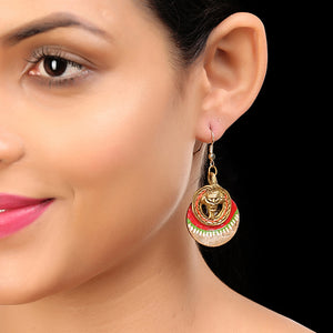 """Tribal Coco Faces"" Bohemain Brass Earrings Handcrafted In Dhokra Art"