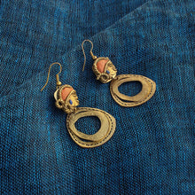 "Load image into Gallery viewer, ""Tribal Women Faces"" Bohemain Brass Earrings Handcrafted In Dhokra Art"
