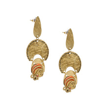 "Load image into Gallery viewer, ""Tribal Dangling Faces"" Bohemain Brass Earrings Handcrafted In Dhokra Art"