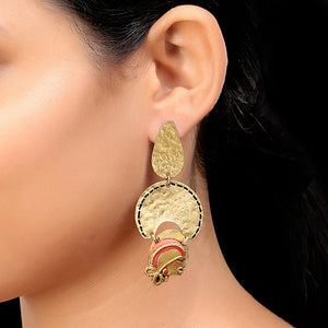 """Tribal Dangling Faces"" Bohemain Brass Earrings Handcrafted In Dhokra Art"