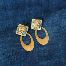 "Load image into Gallery viewer, ""Tribal Girl Faces"" Bohemain Brass Earrings Handcrafted In Dhokra Art"