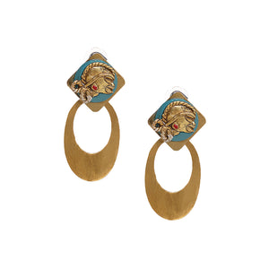 """Tribal Girl Faces"" Bohemain Brass Earrings Handcrafted In Dhokra Art"