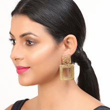 "Load image into Gallery viewer, ""Tribal Lady Faces"" Bohemain Brass Earrings Handcrafted In Dhokra Art"