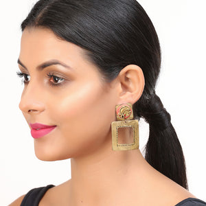 """Tribal Lady Faces"" Bohemain Brass Earrings Handcrafted In Dhokra Art"