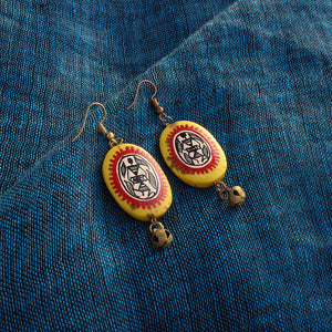 """Tribal Warli Ovates"" Bohemain Resin Earrings Hand-painted In Warli Art (Amber Yellow & Red)"