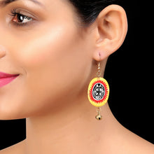 "Load image into Gallery viewer, ""Tribal Warli Ovates"" Bohemain Resin Earrings Hand-painted In Warli Art (Amber Yellow & Red)"
