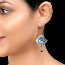 "Load image into Gallery viewer, ""Tribal Warli Squares"" Bohemain Resin Earrings Hand-painted In Warli Art (Blue & Ivory)"