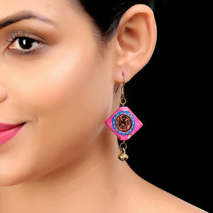 """Tribal Warli Squares"" Bohemain Resin Earrings Hand-painted In Warli Art (Punch Pink)"