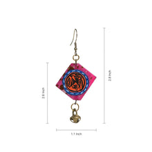 "Load image into Gallery viewer, ""Tribal Warli Squares"" Bohemain Resin Earrings Hand-painted In Warli Art (Punch Pink)"