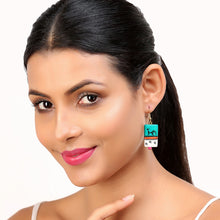 "Load image into Gallery viewer, ""Tribal Warli Rectangles"" Bohemain Resin Earrings Hand-painted In Warli Art (Teal Green)"