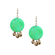 "Load image into Gallery viewer, ""Tribal Warli Rounds"" Bohemain Resin Earrings Hand-painted In Warli Art (Shamrock Green)"