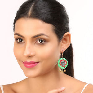 """Tribal Warli Rounds"" Bohemain Resin Earrings Hand-painted In Warli Art (Shamrock Green)"