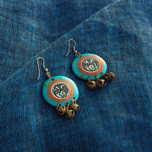 """Tribal Warli Rounds"" Bohemain Resin Earrings Hand-painted In Warli Art (Jade Blue)"