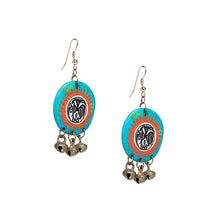 "Load image into Gallery viewer, ""Tribal Warli Rounds"" Bohemain Resin Earrings Hand-painted In Warli Art (Jade Blue)"