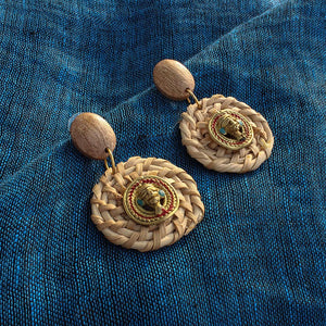 """Tribal Men Faces"" Bohemain Brass & Cane Earrings Handcrafted In Dhokra Art"