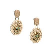 "Load image into Gallery viewer, ""Tribal Men Faces"" Bohemain Brass & Cane Earrings Handcrafted In Dhokra Art"