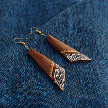 "Load image into Gallery viewer, ""Trapezial Tribal Warli"" Bohemian Earrings Hand-painted In Warli Art (Sheesham Wood)"