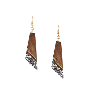 """Trapezial Tribal Warli"" Bohemian Earrings Hand-painted In Warli Art (Sheesham Wood)"