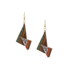 "Load image into Gallery viewer, ""Twisted Tribal Warli"" Bohemian Earrings Hand-painted In Warli Art (Sheesham Wood)"