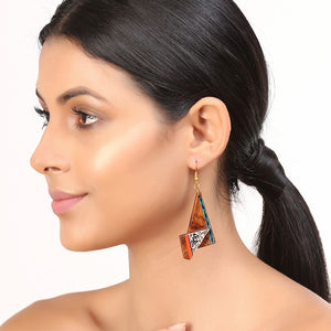 """Twisted Tribal Warli"" Bohemian Earrings Hand-painted In Warli Art (Sheesham Wood)"