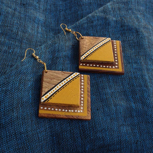 """Abstract Square Pair"" Bohemian Earrings Hand-painted In Triangular & Dotted Pattern (Sheesham Wood)"