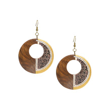 "Load image into Gallery viewer, ""Seas Loop Pair"" Bohemian Earrings Hand-painted In Seas Loop Pattern (Sheesham Wood)"