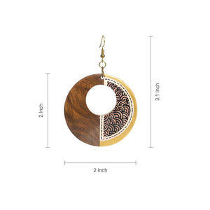 """Seas Loop Pair"" Bohemian Earrings Hand-painted In Seas Loop Pattern (Sheesham Wood)"