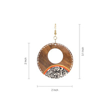 "Load image into Gallery viewer, ""Tribal Warli Rounds"" Bohemian Earrings Hand-painted In Warli Art (Sheesham Wood)"