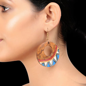 """Zig-Zag Pair"" Bohemian Earrings Hand-painted In Zig-Zag Pattern (Sheesham Wood)"