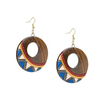"Load image into Gallery viewer, ""Zig-Zag Pair"" Bohemian Earrings Hand-painted In Zig-Zag Pattern (Sheesham Wood)"