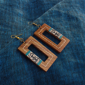 """Tribal Warli Danglers"" Bohemian Earrings Hand-painted In Warli Art (Sheesham Wood)"