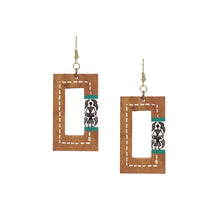 "Load image into Gallery viewer, ""Tribal Warli Danglers"" Bohemian Earrings Hand-painted In Warli Art (Sheesham Wood)"