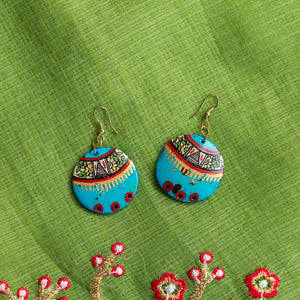 'Tribal Floral Rounds' Hand-painted Bohemian Earrings (Resin, Jade Blue, 2.2 Inch)