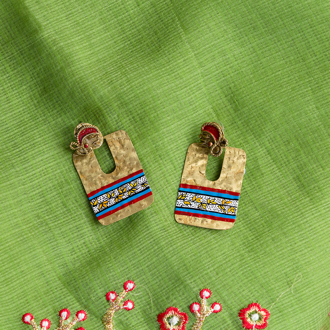 'Tribal Dhokra Flat' Bohemian Earrings Handmade In Dhokra Art (Brass, 2.5 Inch)
